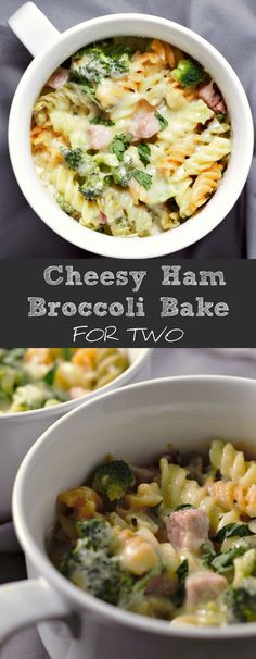 This Cheesy Ham Broccoli Pasta Bake is made with a creamy, cheesy sauce, packed with pasta, ham and broccoli, and topped with more cheese. This recipe makes a perfect amount for two as a lunch, dinner, or date night. It is easy and quick, ready in about 35 minutes. #casserole #ham #cheese #broccoli #DinnerForTwo #LunchForTwo #RecipesForTwo #DateNight