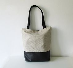 Large Tote bag Canvas and Leather Book bag Shopping bag by byMART, $44.00