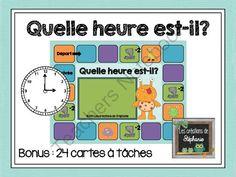 Quelle heure est-il? (Jeu + Cartes � t�ches) from Les cr�ations de St�phanie on TeachersNotebook.com - (10 pages) - Un jeu en lien avec la notion de l'heure et 24 cartes � t�ches