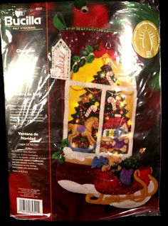 Christmas Window Bucilla Lighted Felt Stocking Kit 85321 Christmas Decoration  #Bucillakit #lightedChristmasstocking