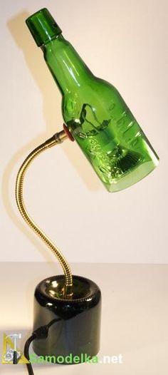 лампа из двух пивных бутылок