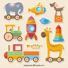 Coleta de brinquedos coloridos Vetor grátis