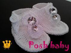 White crocheted cotton sandals