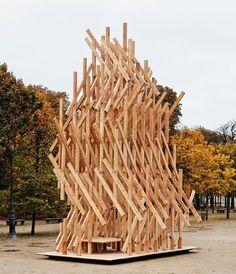 Kengo Kuma installs climbable wooden pavilion in Paris park http://www.dezeen.com/2015/10/20/kengo-kuma-installs-climbable-wooden-yure-pavilion-jardins-des-tuileries-paris-fiac/…