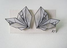 GEOMETRIC MONOCHROME WING earrings // unique hand-drawn shrink plastic stud earrings, jewelry, jewellery, one of a kind, art jewelry