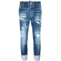 Dsquared2 London stonewashed ripped jeans (€505) ❤ liked on Polyvore featuring jeans, blue, cuffed cropped jeans, destroyed jeans, button fly jeans, blue ripped jeans and torn jeans