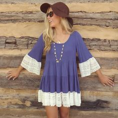 Boho Layered Lace Dress NWT. Periwinkle (blue) in color. Lace trimmed sleeves. *Dress runs one size smaller than tag size. Dresses
