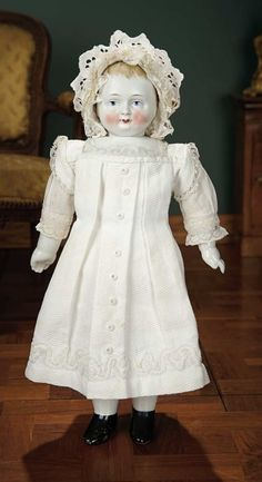 """""""For the Love of the Ladies"""" - October 1-2, 2016 in Phoenix, AZ: 75 Rare German Bisque Taufling Baby in Fine White Pique Dress, Soutache Embroidery"""