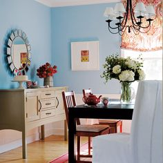 Love this Coral and baby blue dining room