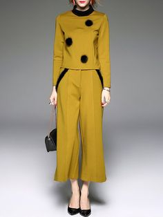 Shop Jumpsuits - Yellow Long Sleeve Turtleneck Jumpsuit online. Discover unique designers fashion at StyleWe.com.