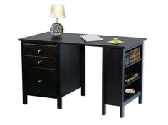 hmmm.....1 end table, 1 bookshelf, and a wooden top...and viola!  a DIY desk for the kids rooms!