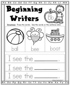 Alphabet Writing Prompts: Beginning Writers in kinder and first grade. Using sentence stems to practice sight words, writing, and beginning sounds. Kindergarten Reading, Kindergarten Classroom, Kindergarten Writing Prompts, Teaching Writing, Classroom Ideas, Writing Resources, Teacher Resources, Pre Primer Sight Words, Start Writing