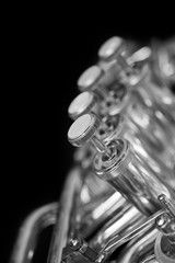 Fragment of a bass tuba valves closeup in black and white Les Themes, Bass, Wedding Rings, Engagement Rings, Black And White, Music, Image, Jewelry, Enagement Rings