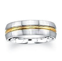 7mm Wedding Band in Cobalt and 14K Yellow Gold Size 10.5