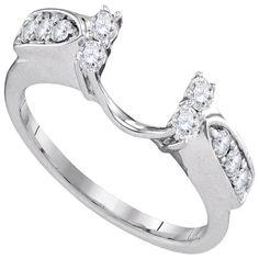 """40499827- White Gold """"U"""" Shape With Round Diamond Ring Guard Engagement Wedding Ring Band Enhancer"""