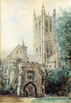 S.J. (Toby) Nash (1891-1960) - Ink and watercolours - Views of Canterbury Cathedral, both signed and one with date 1933
