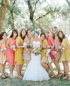 Yellow and pink bridesmaid dresses