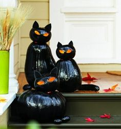 interessante Halloween Dekoration Kürbis-schwarze Katzen