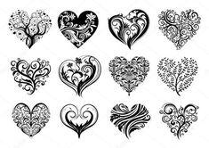 Conjunto de 12 corações do tatuagem, imagem vetorial