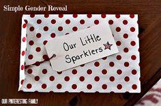 Our Pinteresting Family: Little Sparklers - Gender Reveal Idea