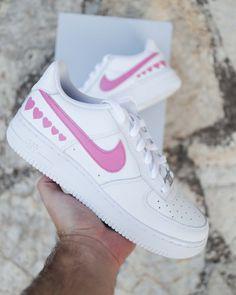 Behind The Scenes By sneakeaze_customs Sneakers For Sale, Custom Sneakers, Custom Shoes, Nike Shoes, Shoes Sneakers, Nike Airforce 1, Nike Af1, Pink Hearts, Running Sneakers