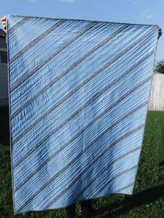 Quilted Throw Masculine Quilt Blue Gray Nautical Gift for