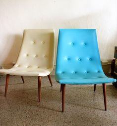 Mid Century Modern Aqua and Cream Vinyl Button Tufted Chairs