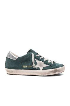 Image 1 of Golden Goose Suede Superstar Low Sneakers in Green Suede & Silver