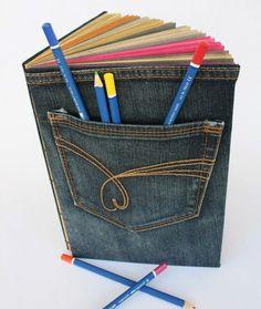 calças de ganga para forrar caderno