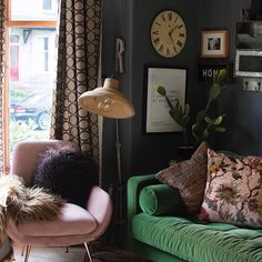 If there was ever a colour palette to make the heart swoon this is it. Blush pink (Moby) grass green (Scott) = instant look-at-me vibes. And who else to style it better than Blush Living Room, Living Room Green, Boho Living Room, Green Rooms, Living Room Sofa, Living Room Decor, Emerald Green Sofa, Leather Chaise Lounge Chair, Pink Sofa