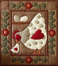 chicken quilt very cute idea. I could make this pattern. :]