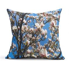 Pam Weinstock London - Joie de Vivre Cushion Linen (87 CAD) ❤ liked on Polyvore featuring home, home decor, throw pillows, magnolia home decor, magnolia tree, spring home decor, cobalt blue home decor and tree home decor