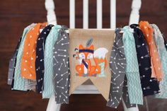 WOODLAND fox banner tribal first one birthday party banner garland bunting pow wow wild one cake smash high chair highchair banner by PippaStitchShop on Etsy https://www.etsy.com/listing/271511421/woodland-fox-banner-tribal-first-one