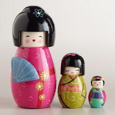 Japanese wooden kokeshi nesting dolls