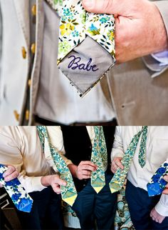 Groom's and groomsmen's custom made ties... With stiching of their names on the back. Awesome groomsmen gift.