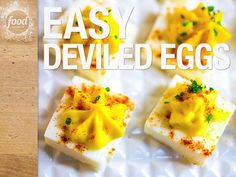 Ridiculously Easy Square Deviled Eggs Video : Food Network Deviled eggs just got a whole lot easier. These creamy and simple deviled eggs take less time to make but are just as tasty as the classic recipe. Happy snacking from Our Food Network Kitchen. Deviled Eggs Recipe Food Network, Food Network Recipes, Food Processor Recipes, Egg Recipes, Appetizer Recipes, Cooking Recipes, Cheap Recipes, Appetizer Ideas, Party Appetizers