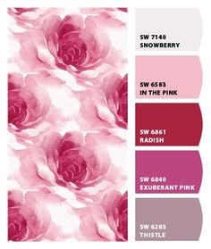 Paint colors from Chip It! by Sherwin-Williams Color Box, Colour Board, Sherwin Williams Color Palette, Colour Schemes, Colour Palettes, Complimentary Colors, Lilac, Pink, Colorful Wallpaper