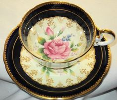 AYNSLEY COBALT BLUE PINK ROSE CREAM TEA CUP AND SAUCER