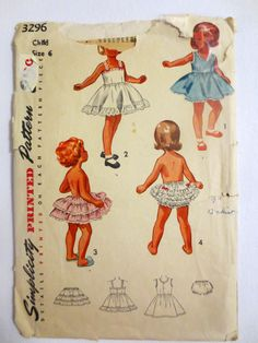 Simplicity Pattern 3296 (1940s) Girls Slip, Petticoat and Pantie - Size 6 - Vintage Sewing Pattern