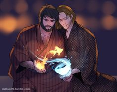 Hawke and Anders and elemental magic