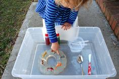 Jello mold excavation.  Trap items in jello and let the kids get them out.  Neat sensory activity and opportunity to practice with tools