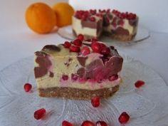 Chocolate Orange Swirled Pomegranate Cheesecake | Fragrant Vanilla Cake