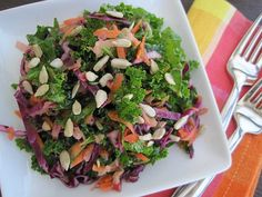 Had this salad at a community group gathering....the gal substituted the red cabbage with red onion and she used toasted almonds instead of sunflower seed. Carrots, onions, apples were diced small.  So good!!!