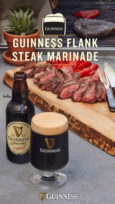 Business Cookware Ought To Be Sturdy And Sensible You Only Need A Few Simple Ingredients To Make This Delicious Guinness Marinade For Grilled Steak. Its The Perfect Recipe To Stout Your Summer. Fixings: 1 Bottle Guinness Extra Stout Cup Dark Brown S Grilling Recipes, Meat Recipes, Dinner Recipes, Cooking Recipes, Healthy Recipes, Grilling Ideas, Healthy Meals, Oven Cooking, Cooking Utensils