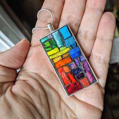 Rainbow Connection Rectangular Pendant with Silver Bezel Rainbow Connection, Color Names, Color Theory, Mosaic Glass, Rainbow Colors, All The Colors, Light Colors, The Dreamers, Illusions
