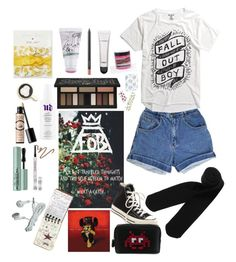""""""":^)))"""" by radrt ❤ liked on Polyvore featuring too cool for school, Draper James, Monki, Urban Decay, MAC Cosmetics, Big Bud Press, Benefit, Converse, Anya Hindmarch and Too Faced Cosmetics"""