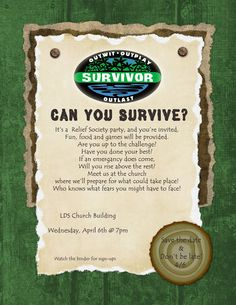 Survivor themed RS Enrichment meeting. All about Emergency Preparedness.