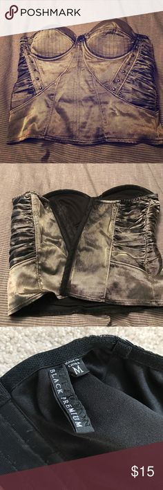 Metallic green bustier by Affliction. Metallic green bustier by Affliction. Part of their black premium line. In good condition. Does not have straps but has attachment for them. Affliction Tops