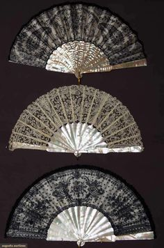 """Three Lace Fans, 1850-1880; All with abalone sticks and guards: One cream Brussels lace, 10.5""""; Two black Chantilly lace, both 10.5"""", one excellent and one with original """"Duvelleroy, Paris"""" box"""