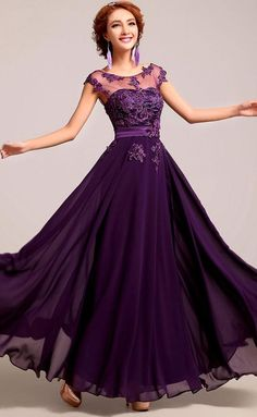 >> Click to Buy << Purple Chiffon Floor Length Beaded Long Bridesmaid Dresses vestidos de madrinha bruidsmeisjes jurk #Affiliate